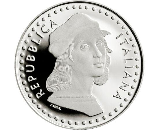 // 5 euró, 925-ös ezüst, Olaszország, 2020 // - Raffaello Sanzio a reneszánsz kor egyik legnagyobb művésze halálának 500. évfordulójáról emlékezik meg ez az olasz ezüst emlékpénz. Az érme előlapján részlet látszik egyik legnagyobb festményéből, az Athéni