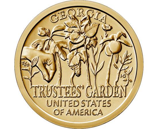 // 1 dollár, USA, 2019 // - Az amerikai újítók előtt tisztelgő érmesorozat tavaly megjelent utolsó kibocsátása Georgia állam újítását mutatja be, az 1730-ban létrehozott Trustees Kertet. A kert nemcsak botanikai, hanem mezőgazdasági szempontból is fontos