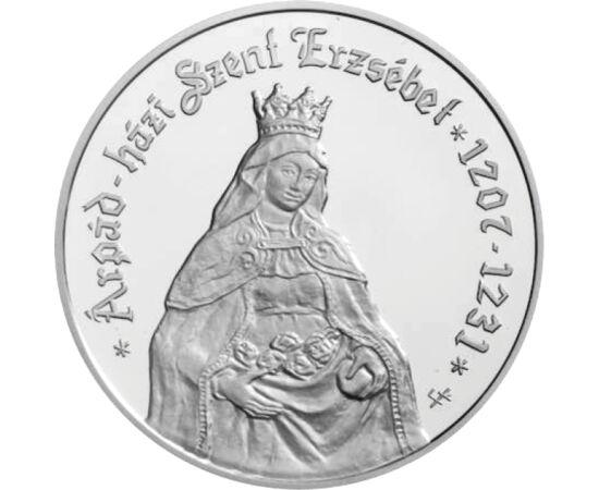 // 5000 forint, 925-ös ezüst, Magyar Köztársaság, 2007 // - A legenda szerint Szent Erzsébet egy alkalommal, mikor kenyeret vitt a szegényeknek, a jótékonyságát rossz szemmel néző sógorával találkozott. Kérdésére, hogy mit visz, azt felelte, hogy rózsákat
