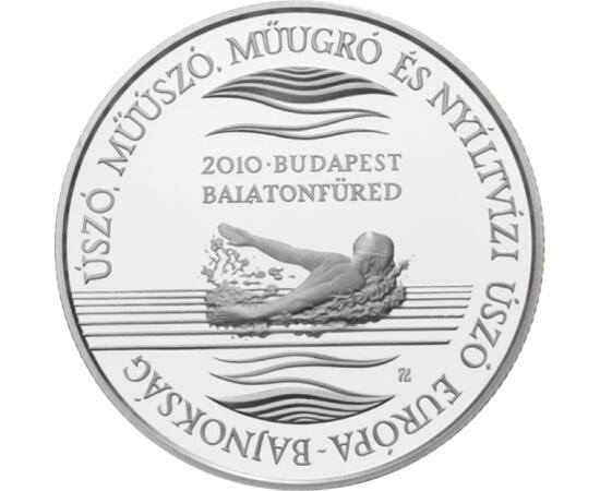 // 5000 forint, 925-ös ezüst, Magyar Köztársaság, 2010 // - 2010 nyarán hazánk adott otthont az Úszó Európa-bajnokságnak. Idén újra Budapest lett volna az esemény házigazdája, de a koronavírus-járvány miatt elhalasztották a bajnokságot. A hazánkban oly né