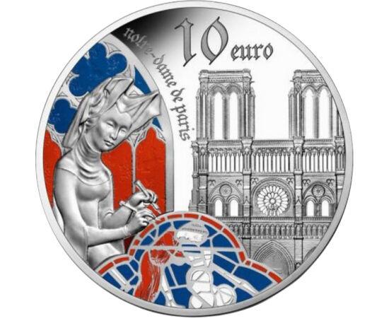 // 10 euró, 900-as ezüst, Franciaország, 2020 // - A francia pénzverő ezüst emlékpénze a gótikus művészet legnagyobb műveit idézi. Megjelenik az érmén a gótika talán legnagyobb és legismertebb építészeti remekműve, a párizsi Notre Dame is, melyen egy évve
