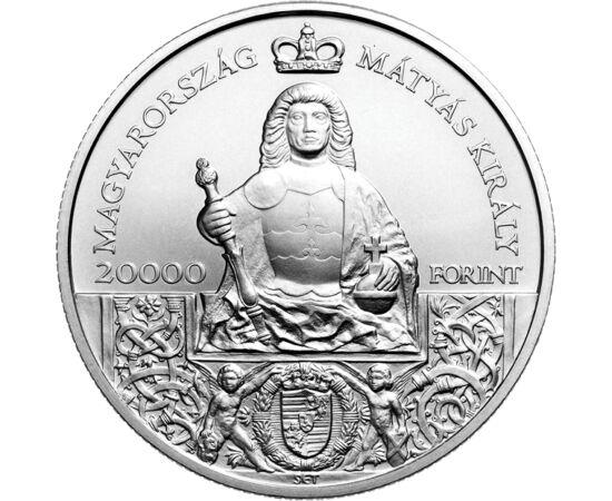 // 20000 forint, 925-ös ezüst, Magyarország, 2018 // - Ez az impozáns méretű emlékpénz 2018-ban a Mátyás emlékév alkalmából került kibocsátásra. Idén is kerek évforduló emlékeztet nagyságára: 530 éve halt meg, 530 éve oda az igazság! Az MNB által kibocsát