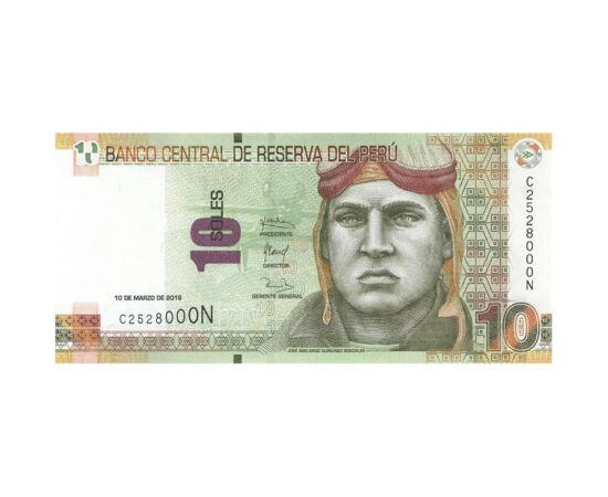 // 10 sol, Peru, 2016 // - A perui bankjegyen José Abelardo, a legendás perui vadászpilóta látható, aki az ecuadori-perui háború idején vált nemzeti hőssé. Halálának évfordulója a légierő napja Peruban. A bankjegy hátlapján Peru világhírű építészeti öröks