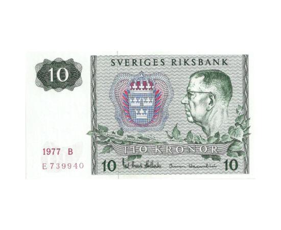 // 10 korona, Svédország, 1976-1983 // - Svédország államformája a mai napig parlamentáris monarchia, melyet VI. Gusztáv király vezetett be 1950 után. Ő látható a 10 koronás bankjegyen. Ez a papírpénz ma már nehezen fellelhető, mivel már több mint 30 éve