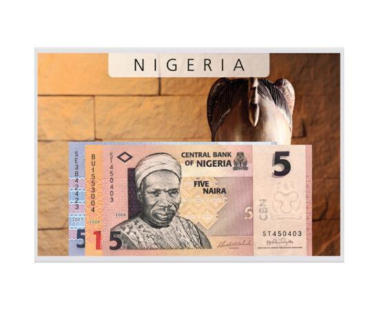 // 5, 10, 50 naira, Nigéria, 2006-2007 // - Fekete-Afrika ezen a részén már az ókorban magas szintű kultúra virágzott. A régészek előtt csak a 20. században vált ismertté, miután megtalálták a mai Nigéria területén az ókori műkincseket.