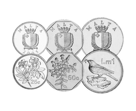 // 1, 2, 5, 10, 25, 50 cent, 1 lira, Málta, 1991-2007 // - Málta 2008-ban vezette be az eurót fizetőeszközeként. Az elmúlt tíz évben ez a döntés hozott jót és rosszat is, de az euró övezet biztonsága, előnye jóval több, mint a hátránya. Ez az érmesor az u