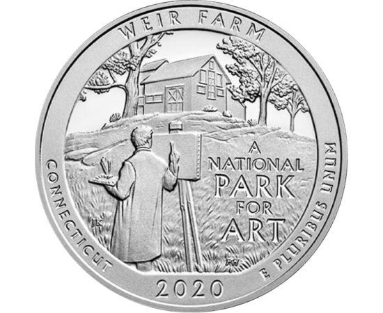 // 25 cent, USA, 2020 // - Az amerikai nemzeti parkokat bemutató sorozat legújabb darabja a Weir Farm nemzeti történelmi emlékművet mutatja be. A festő, Julian Alden Weir egykori otthona az elmúlt 120 évben művészek ezreinek adott ihletet. Az érmén egy do