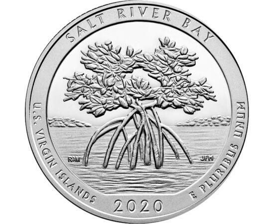 // 25 cent, USA, 2020 // - Az USA nemzeti parkjait bemutató érmesorozata Salt River Bay Nemzeti Parkot bemutató darabja egy a területre nagyon jellemző növényt, a mangrove fát ábrázolja. A Virgin-szigeteken található történelmi és ökológiai park régészeti