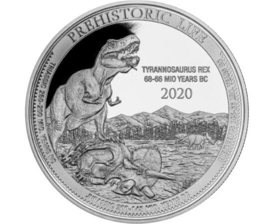 // 20 frank, 999,9-es ezüst, Kongó, 2020 // - A Tyrannosaurus Rex, röviden T-Rex, minden idők egyik legnagyobb szárazföldi húsevője, 4 méter magas, 14 méter hosszú és 6 tonna súlyú volt. A T-Rex, mint a Jurassic Park filmsorozat főszereplője, most 1 unciá