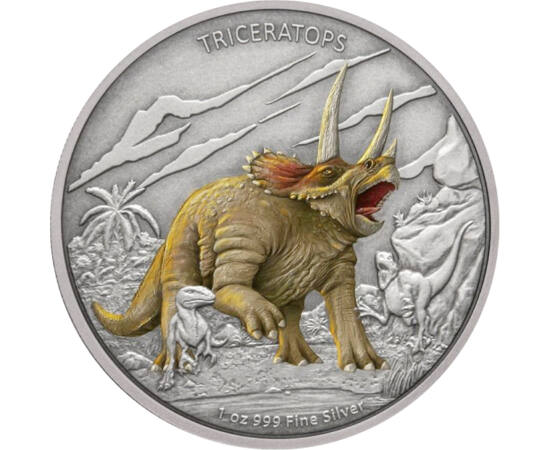 """// 2 dollár, 999-es ezüst, Niue, 2020 // - A krétakor egy másik híres növényevő dinoszaurusza a Triceratops, aminek neve """"háromszarvú arcot"""" jelent. Közel 3 méter magas, 9 méter hosszú és 6 tonna súlyú állat volt, csordákban élt, mint például a mai nagyte"""