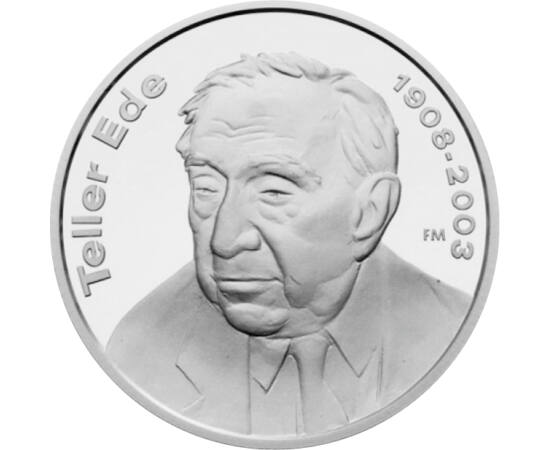 // 5000 forint, 925-ös ezüst, Magyar Köztársaság, 2008 // - 2008-ban Teller Ede, a magyar származású világhírű fizikus születésének 100, halálának pedig 5 éves évfordulójára bocsátott ki emlékpénzt az MNB. Munkássága történelmet írt, ott volt az első atom