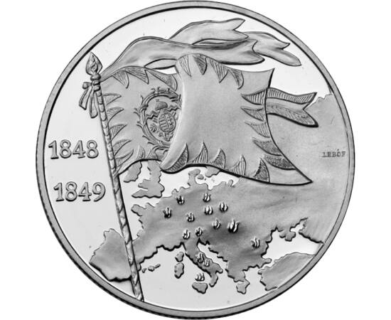 // 2000 forint, 925-ös ezüst, Magyar Köztársaság, 1998 // - Egy uncia súlyú ezüst 2000 forintos érmével köszöntötte a Magyar Nemzeti Bank a 150 éves Szabadságharc és forradalom emlékét 1998-ban. Szépen kidolgozott gyűjtői darab.