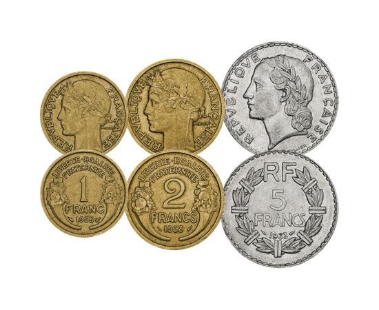 """// 5, 10, 25, 50 centime, 1, 2, 5 franc, Franciaország, 1919-1941 // - Az I. világháború utáni Franciaországban a gazdasági ínség volt az úr, így ezüstből vert fémpénzekről szó sem lehetett. A forgalmi érméken a köztársaság jelszava """"Szabadság, testvérisé"""