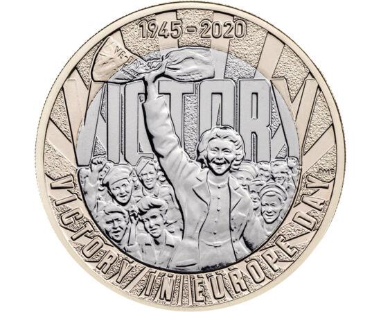 // 2 font, Nagy-Britannia, 2020 // - 1945. május 8-án a II. világháború az európai hadszintéren véget ért. Ez a dátum azóta a győzelem napja. A béke 75 éves évfordulójára Nagy-Britannia emlék 2 fontot adott ki.