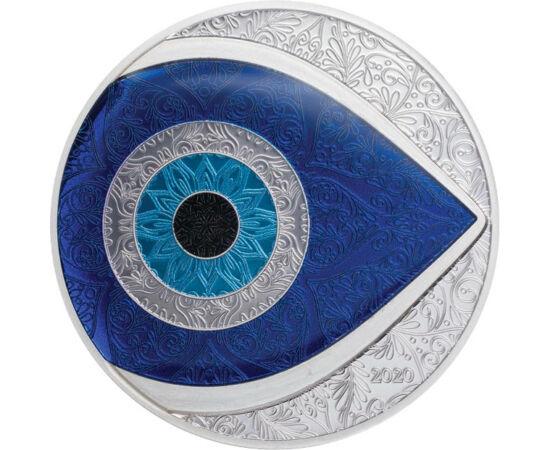 // 5 dollár, 999-es ezüst, Palau, 2020 // - A szem szimbólum először a sumér anyaistennő, Ninhursag imádatához kapcsolódott.  Megvédte az újszülötteket, akiket mindig is védtelennek tartottak a szemmel veréssel szemben. De a hipnotikusan hódító, sötétkék