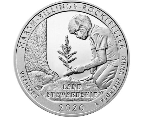 // 25 cent, USA, 2020 // - A Marsh-Billings-Rockefeller Nemzeti Történelmi park jelenik meg az USA nemzeti parkjait felvonultató érmesorozat legújabb darabján. Ez a nemzeti park volt az első, ami az Egyesült Államokban megkapta a fenntartható erdőgazdálko