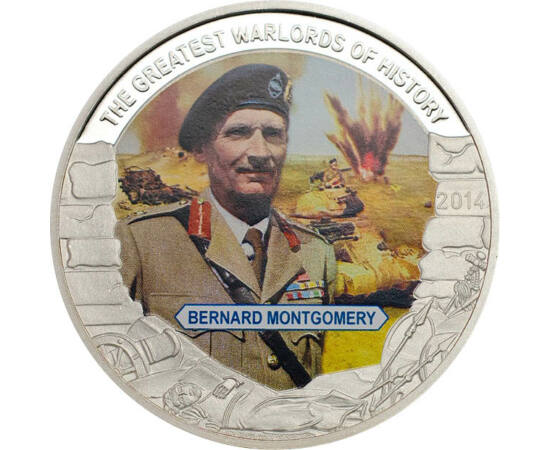 // 1 dollár, Palau, 2014 // - Bernard Montgomery angol marsall a II. világháború alatt kezdetben Franciaországban, majd később Angliában látott el parancsnoki feladatokat. A normandiai partaszállásnál a szövetségesek szárazföldi csapatait irányította. A h
