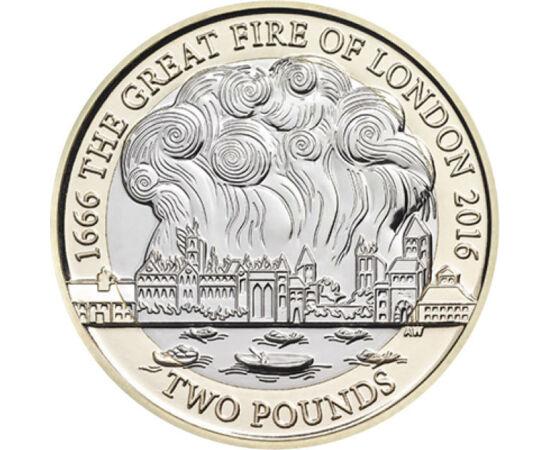 // 2 font, Nagy-Britannia, 2006 // - 1666-ban egy pékségben csaptak fel a lángok, majd gyorsan tovaterjedtek, lévén az akkori házak zömében fából készültek. A város központja három napig maga volt a pokol. Az érmén a lángoló London látható a Temze partján