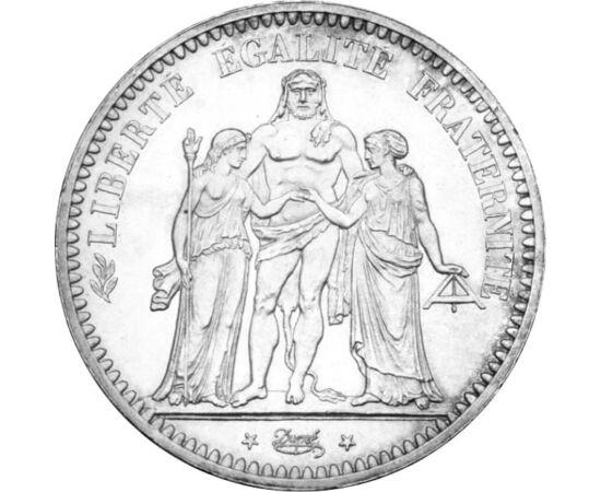 // 5 frank, 900-as ezüst, Franciaország, 1848-1849 // - A három alakos, allegorikus csoport Franciaországot és hármas jelszavát testesíti meg. Míg a lándzsáját frígiai sapkával felékesítő nőalak a szabadságot, a szabadkőművesek mérőlécét tartó nőalak a te