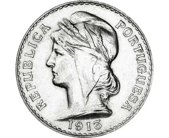 // 50 centavo, 835-ös ezüst, Portugália, 1912-1916 // - Az I. világháború alatt Portugália megőrizte semlegességét és függetlenségét. Az akkor Európában kivételes értéket, mint üzenetet közvetítette érméin a frígiai sapkás hölgy portréja, mint a szabadság