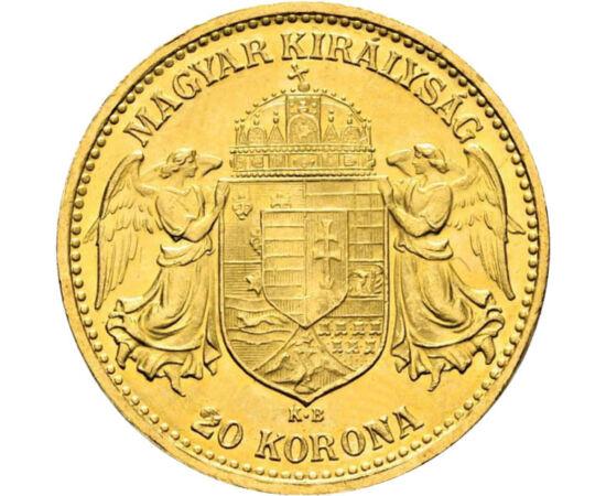 // 20 korona, 900-as arany, Osztrák–Magyar Monarchia, 1892-1893 // - 1892-ben az Osztrák-Magyar Monarchiában hivatalos forintot az arany alapú korona váltotta fel. Az új fizetőeszköz bevezetésének éveiben vert arany 20 koronák numizmatikai jelentőségűek.