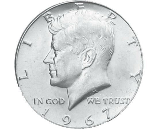 // 1/2 dollár, USA, 1965-1970 // - A titokzatos merénylet áldozatává vált Kennedy elnököt ábrázolja ez a klasszikus és közkedvelt ezüst féldollár. Egyedül 1964-ben magas ezüst finomsággal került kibocsátásra az érme, majd az azt követő években már csökken