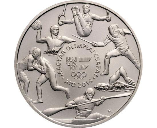 // 2000 forint, Magyarország, 2016 // - Az olimpiák kapcsán 1984 óta bocsát ki emlékpénzeket az MNB. 2016-ban először készült színesfémből olimpiai emlékérme. Az emlékpénzen az addig szerzett olimpiai aranyérmek számát, 168, is megjelenítették, sőt mikroí