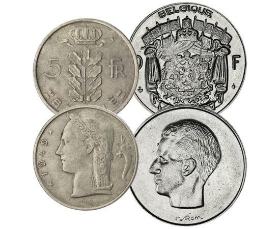 // 25, 50 centime, 1, 5, 10 frank, Belgium, 1948-1988 // - Az 1830-ban függetlenné vált Belgium, semlegessége ellenére, az első és második világháborúban is német támadás áldozata lett. A német megszállás után az ezüst pénzek verése megszűnt, helyette bro