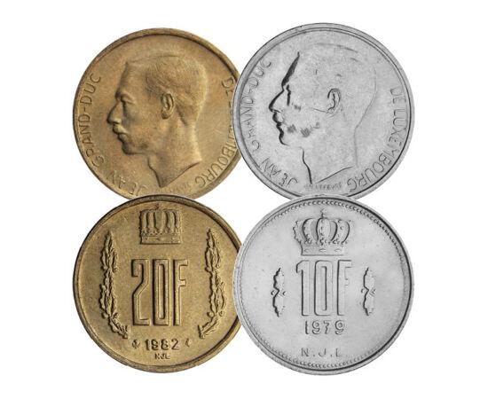 // 25 centime, 1, 5, 10, 20 frank, Luxemburg, 1964-1984 // - János nagyherceg a hidegháború alatt volt Luxemburg uralkodója. Rendkívül népszerű volt hazájában és külföldön. Georges Pompidou francia elnök mondta róla, hogy ha Európának örökletes elnököt ke