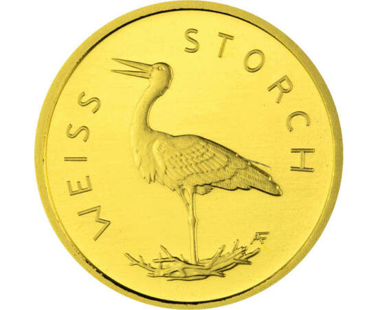 // 20 euró, 999,9-es arany, Németország, 2020 // - Németország arany érmesorozatán mutatja be őshonos madarait. A gyűjtemény legújabb kibocsátása a hazánkban is élő fehér gólya. Az ősszel délre repülő gázlómadár egyik talán legkedveltebb madarunk, mondóká