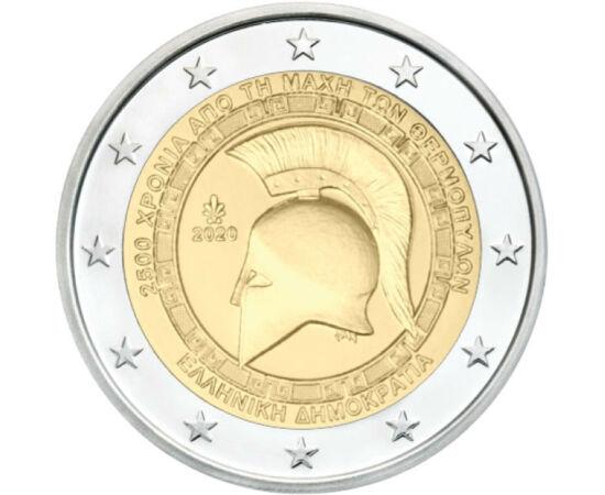 // 2 euró, Görögország, 2020 // - 2500 évvel ezelőtt az ókori világ két hatalmas ereje, a görögök és a perzsák csaptak össze a Földközi-tenger keleti feléért. A legújabb görög 2 euró, az ókor egyik legismertebb ütközete, a Thermopülai csata előtt állít em