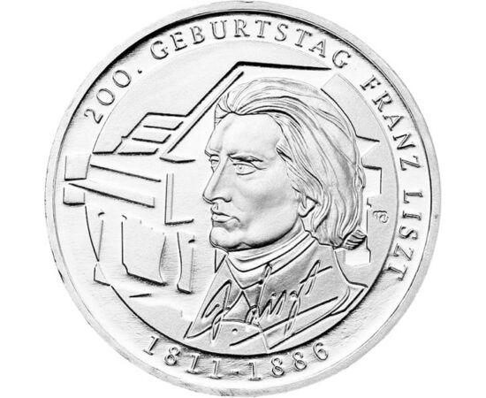 // 10 euró, 625-ös ezüst, Németország, 2011 // - Liszt Ferenc születésének 200. évfordulójára jelent meg ez az ezüst emlékpénz. A németek rendkívül tisztelik a magyar zeneszerzőt, és büszkék arra, hogy majd húsz évet élt és alkotott Wiemarban, továbbá szo