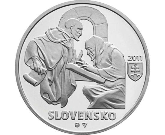 // 10 euró, 900-as ezüst, Szlovákia, 2011 // - Zobor nagy szerepet játszott a kereszténység megszilárdításában. Szent István korában itt alapítottak először bencés szerzetesrendet. Itt élt Szent Zoerard-András, az első magyar szentek egyike. Az ezüst érme