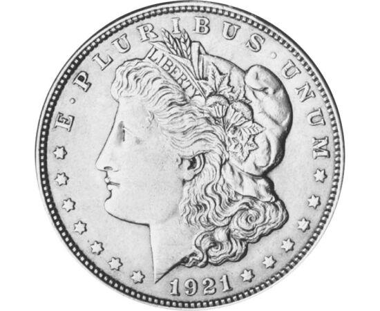 // 1 dollár, 900-as ezüst, USA, 1878-1921 // - A Morgan-dollár a tervezőjéről, George T. Morgan-ról kapta a nevét. A nagyméretű, magas ezüst tartalmú érme a legkedveltebb, nagyon keresett a gyűjtők körében. 1878-tól 1904-ig verték, majd 1921-ben újra gyár