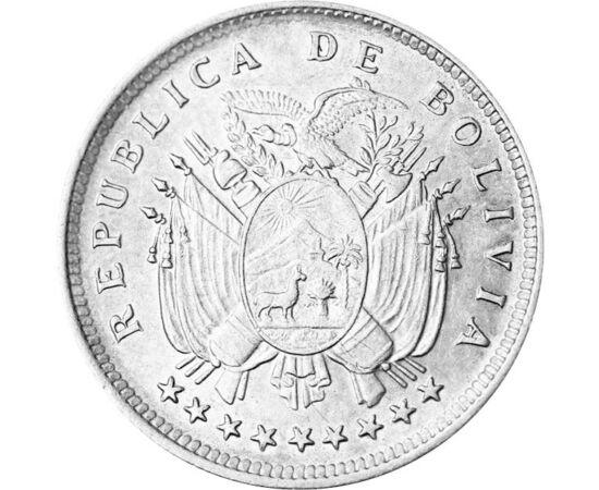 // 20 centavo, 833-as ezüst, Bolívia, 1909 // - Bolívia a történelme során a legnagyobb jövedelem forrását ezüstbányáinak köszönhette. A XIX. század elejétől a bányák kifogyó készletei erős gazdasági hanyatlást eredményeztek. A XIX. század végén és a XX.