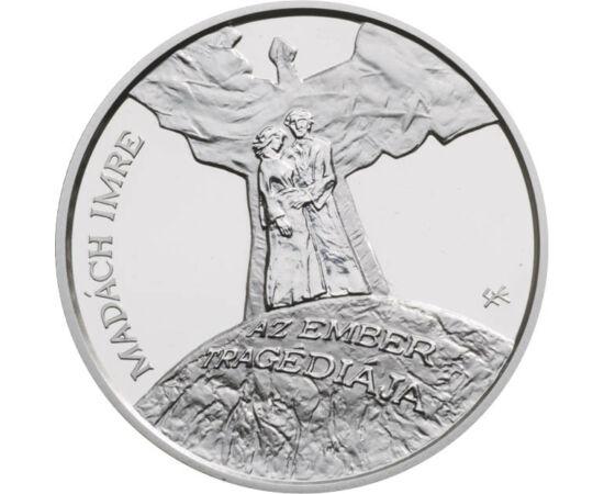 // 3000 forint, 925-ös ezüst, Magyarország, 2012 // - A Nemzeti Bank 2012. évi első kibocsátása Madách Imre világszerte népszerű művének, Az ember tragédiájának 200 éves évfordulójára jelent meg. Ez volt az első emlékpénz, melyen már a Magyarország körira