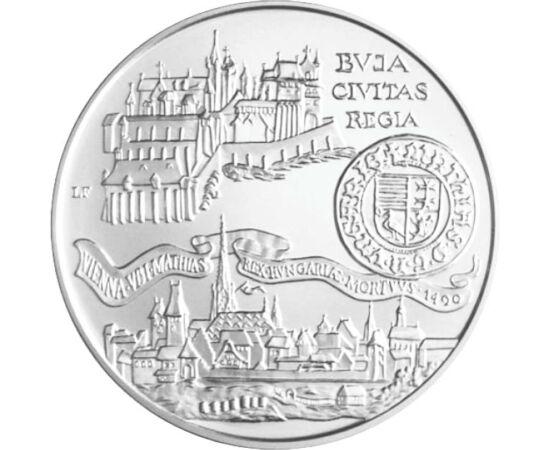 // 500 forint, 900-as ezüst, Magyar Köztársaság, 1990 // - Legnagyobb királyunk halálának 500. évfordulójáról emlékezett meg ez az ezüstérme 1990-ben. Az érme a középkori Budát és a meghódított Bécset ábrázolja valamint Mátyás eredeti aranyforintját.