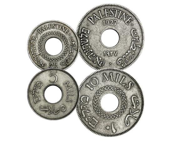 // 1, 2, 5, 10 mils, Palesztina, 1927-1946 // - Palesztina angol gyarmati pénzének különlegessége, hogy a palesztin font váltópénze, a mil nem 100, hanem 1000 egységgel váltotta azt. A neve is erre utal, a milli, ezred előtagból. A névértéket és az ország