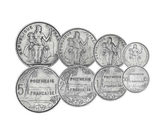 // 50 centime, 1, 2, 5, 10, 20, 50 frank, Francia Polinézia, 1965-1970 // - Francia Polinézia a XIX. századtól áll francia fennhatóság alatt. Érméin felfedezhető a kulturális kettősség, egyszerre vannak jelen a francia és az ősi polinéz motívumok. Korábbi