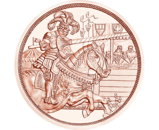 """// 10 euró, Ausztria, 2019 // - A """"Lovagok meséje"""" című érmesor első darabja I. Miksa német-római császárnak, reneszánsz uralkodónak állított emléket, aki lelkesedett a lovagi hagyományokért, és maga is remek bajvívó volt. Az érme előlapján a császár és l"""