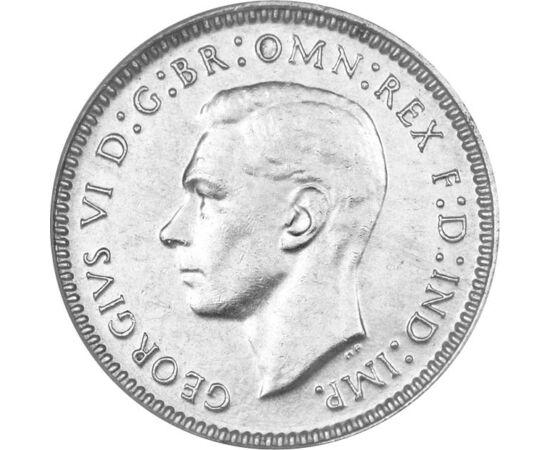 // 3 penny, 500-as ezüst, Ausztrália, 1938-1952 // - A fontot 1971 előtt a 12-es számrendszer szerint váltották. 1 font 20 shillinget, az pedig 12 pennyt, azaz 1 font 240 pennyt ért. Így a shillinget könnyen osztotta a 2, 3, 4 és 6, a fontot továbbá az 5,
