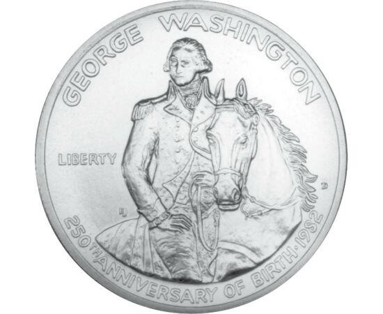 // 1/2 dollár, 900-as ezüst, USA, 1982 // - George Washington, az USA első elnöke korának egyik leggazdagabb embere is volt. Saját gyermeke nem lévén minden vagyonát feleségére és rabszolgáira hagyta. A végrendeletében kikötötte, hogy ha özvegye is meghal