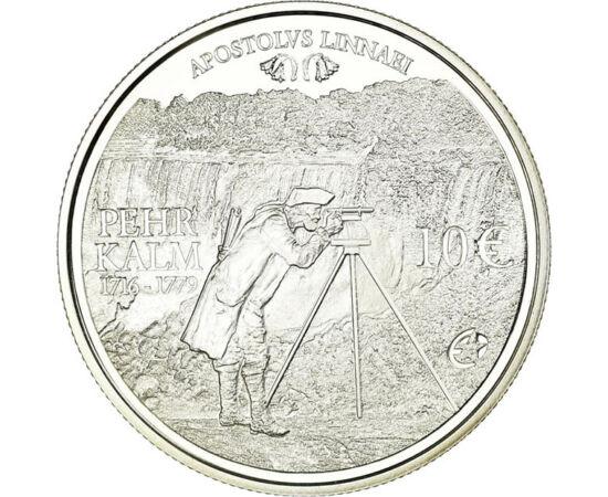 // 10 euró, 925-ös ezüst, Finnország, 2011 // - Pehr Kalm finn természettudós volt, aki elsőként mérte fel a Niagara vízesést, és ismeretlen növényeket fedezett fel Észak-Amerikában. Az érme hátlapján a róla elnevezett, és általa Európában meghonosított h