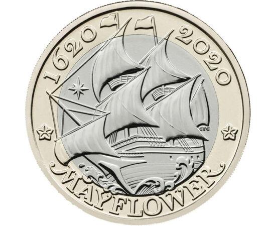// 2 font, Nagy-Britannia, 2020 // - Pont 400 éve, 1620-ban ért az angol puritánok első csoportja Amerika partjaira. Ők voltak az első európai letelepedők, akik a híres Mayflower hajón az angliai Plymount városából érkeztek. A hajó a telet az öbölben horg