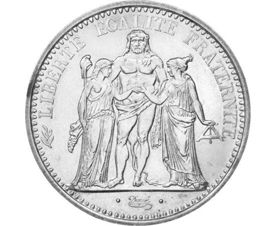 // 10 frank, 900-as ezüst, Franciaország, 1965-1973 // - A három alakos csoport Franciaország hármas jelszavát testesíti meg. A lándzsáját frígiai sapkával felékesítő nőalak a szabadságot, a szabadkőművesek mérőlécét tartó nőalak a testvériséget, Herkules