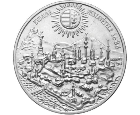 // 500 forint, 900-as ezüst, Magyar Népköztársaság, 1986 // - 145 éves török uralom után 1686 szeptemberében a keresztény seregek visszafoglalták Buda várát. A történelmi esemény 300 éves évfordulójára 1986-ban az MNB ezüst emlékpénzt bocsátott ki Buda ko