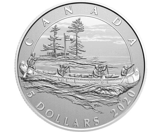 // 5 dollár, 999,9-es ezüst, Kanada, 2020 // - 350 éves Kanada legrégebbi vállalata, HBC – Hudson's Bay Company. Ennek örömére emlékpénz jelent meg, klasszikus kenu ábrázolással. Az érmén lévő motívum a régmúltban müködő HBC kereskedelmi állomás felé tart