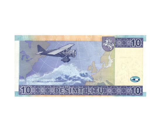 // 10 litu, Litvánia, 2007 // - Az utolsó litu bankjegy, mely az euró bankjegyeket megelőzte Steponas Darius és Stasys Girénas repülőútjáról emlékezik meg, akik 1933-ban repültek volna New Yorkból Kaunasba. Az Atlanti-óceánt sikeresen átszelték, azonban r