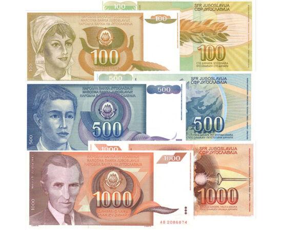 // 10, 50, 100, 500, 1000 dinár, Jugoszlávia, 1990 // - 1990-ben, a délszláv háború küszöbén kiadott bankjegysor a még egységes Jugoszlávia történelmi emlékei. A bankjegyeken gyermekek portréi, Nikola Tesla portréja látható, valamint helyi növények és heg