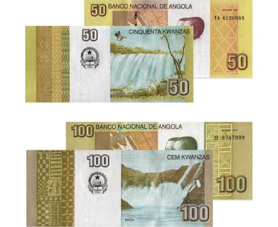 // 5, 10, 50, 100 kwanza, Angola, 2012 // - Angolában a függetlenség óta szinte folyamatos a polgárháború. Emiatt katasztrofális a közbiztonság, elképesztő a drágaság és drámaiak az egészségügyi viszonyok. Továbbá bizarr, hogy a helyi pénzt, a kwanzát nem
